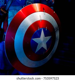 NEW YORK, USA - SEP 16, 2017: Shield of  Captain America, Marvel cinematographic universe, Madame Tussauds NY wax museum.