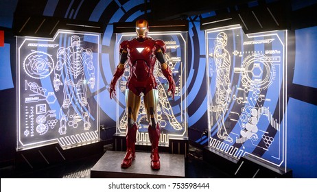 NEW YORK, USA - SEP 16, 2017: Iron Man (Tony Stark), Marvel cinematographic universe, Madame Tussauds NY wax museum.