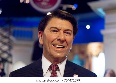 NEW YORK, USA - SEP 16, 2017: Ronald Reagan, ex president of the United States of America, Madame Tussauds NY wax museum.