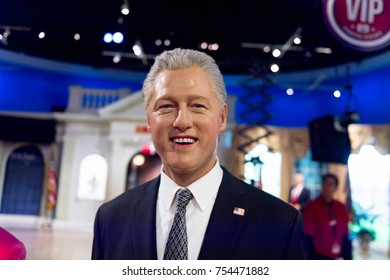 NEW YORK, USA - SEP 16, 2017: Bill Clinton, former president of the United States of America, Madame Tussauds NY wax museum.