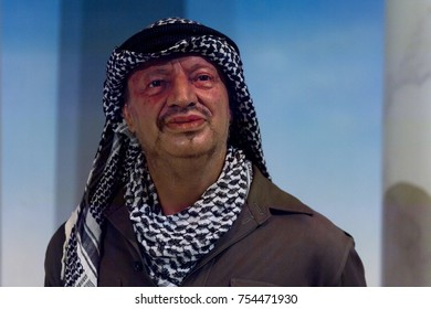 NEW YORK, USA - SEP 16, 2017: Yasser Arafat, was a Palestinian political leader, Madame Tussauds NY wax museum.