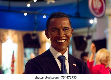 NEW YORK, USA - SEP 16, 2017: Barack Obama, former president of the USA, Madame Tussauds NY wax museum.