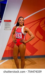 NEW YORK, USA - SEP 16, 2017: Florence Delorez Griffith Joyner (Flo-Jo), was an American track and field athlete, Madame Tussauds NY wax museum.