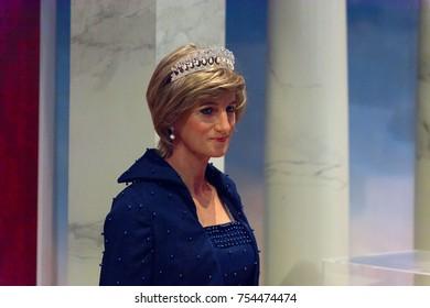 NEW YORK, USA - SEP 16, 2017: Diana Princess of Wales, Madame Tussauds NY wax museum.