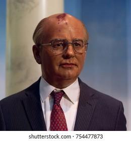 NEW YORK, USA - SEP 16, 2017: Mikhail Gorbachev, the last President of the Soviet Union, Madame Tussauds NY wax museum.