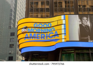 NEW YORK, USA - SEP 16, 2017: Good morning America screen, Manhattan, New York City, United States of America