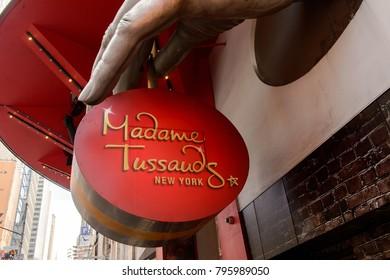 NEW YORK, USA - SEP 16, 2017: Madame Tussaud's museum sign, Manhattan, New York City, United States of America
