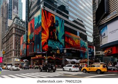 NEW YORK, USA - SEP 16, 2017: Blade runner film poster,  Manhattan, New York City, United States of America