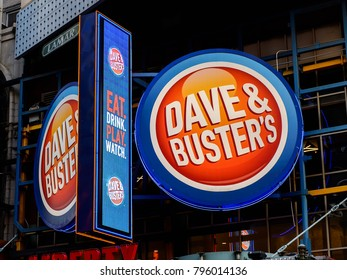 NEW YORK, USA - SEP 16, 2017: Dave and Buster, Manhattan, New York City, United States of America