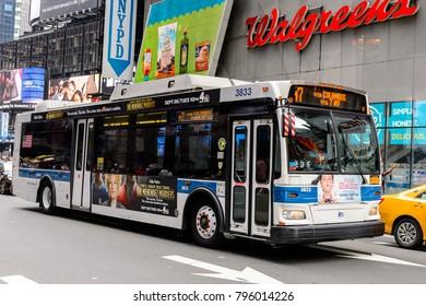 NEW YORK, USA - SEP 16, 2017: Bus, Manhattan, New York City, United States of America