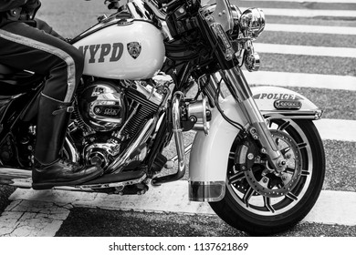 NEW YORK, USA - Sep 17, 2017: Black and white image of NYPD officers on motorcycles providing security in Manhattan. NYC Police Department (NYPD) is the largest municipal police force in the US