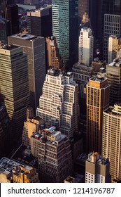 NEW YORK, USA - Sep 17, 2017: Streets and roofs of Manhattan. New York City Manhattan midtown viewed from top of Empire State Building. Birds eye view