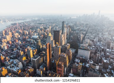 NEW YORK, USA - Sep 17, 2017: 5th Avenue, Flatiron Building and Madison Square Park. Manhattan midtown and downtown viewed from top of Empire State Building. Birds eye view