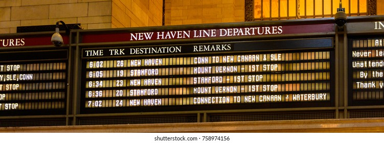 NEW YORK, USA - SEP 17, 2017: Schedule of the Grand Central Terminal (GCT) , the main Railway Station, 42nd Street and Park Avenue, Midtown Manhattan, New York City, United States