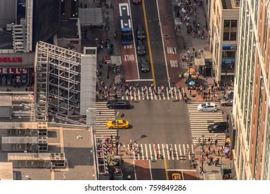 NEW YORK, USA - SEP 17, 2017: Streets of Manhattan from above, New York, NY, United States of Americs
