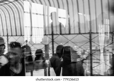 NEW YORK, USA - Sep 17, 2017: Soft focus and blurred abstract image of lights, shadows and reflections on the observation deck of the Empire State Building in New York City