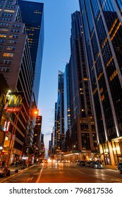 NEW YORK, USA - Sep 17, 2017: Manhattan modern architecture in evening time. Manhattan is the most densely populated of the five boroughs of New York City