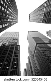 NEW YORK, USA - Sep 18, 2016: Blackand white image of Manhattan modern architecture. Manhattan is the most densely populated of the five boroughs of New York City
