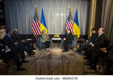 NEW YORK, USA - Sep 20, 2016: Candidate for Presidency of the United States Hillary Clinton during a meeting with President of Ukraine Petro Poroshenko