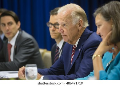 NEW YORK, USA - Sep 20, 2016: US Vice President Joe Biden during a meeting with President of Ukraine Petro Poroshenko in New York