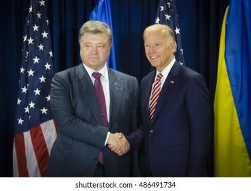 NEW YORK, USA - Sep 20, 2016: US Vice President Joe Biden during a meeting with President of Ukraine Petro Poroshenko in New York