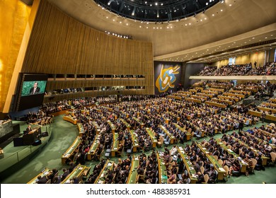 NEW YORK, USA - Sep 20, 2016: UN Secretary General Ban Ki-moon at the opening of the 71st session of the United Nations General Assembly in New York