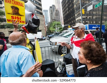 NEW YORK, USA - Sep 20, 2016: New York and New Yorkers. Manhattan street scene. Protestants group on the streets of Manhattan during the UN session