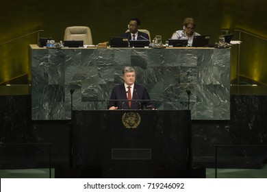NEW YORK, USA - Sep 20, 2017: Speech by the President of Ukraine Petro Poroshenko during the 72th session of the UN General Assembly in New York