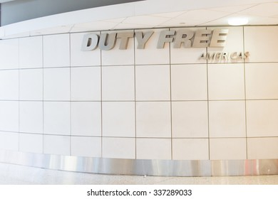 NEW YORK, USA - SEP 21, 2015: Duty free area at  the John F. Kennedy International Airport. It is the busiest international air passenger gateway in the United States