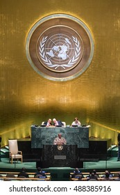 NEW YORK, USA - Sep 21, 2016: John Dramani Mahama, President of Ghana, addresses the general debate of the UN General Assemblys seventy-first session.