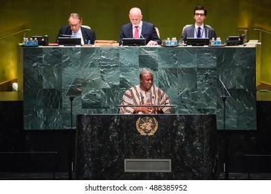NEW YORK, USA - Sep 21, 2016: John Dramani Mahama, President of Ghana, addresses the general debate of the General Assemblys seventy-first session.