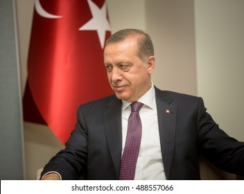 NEW YORK, USA - Sep 21, 2016: Turkish President Recep Tayyip Erdogan during the 71 th session of the UN General Assembly in New York