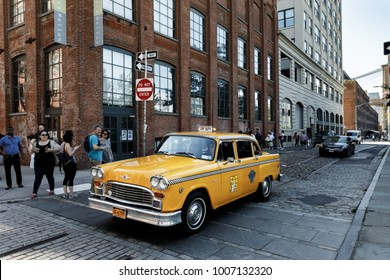 NEW YORK, USA - Sep 22, 2017: Checker Marathon taxi car produced by the Checker Motors Corporation in Brooklyn. The Checker remains the most famous taxi cab vehicle in the United States