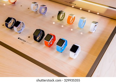 NEW YORK, USA - SEP 22, 2015: Apple watch section at the Apple store on the Fifth Avenue, New York. The store sells Macintosh personal computers, software, iPod, iPad, iPhone, Apple Watch, Apple TV