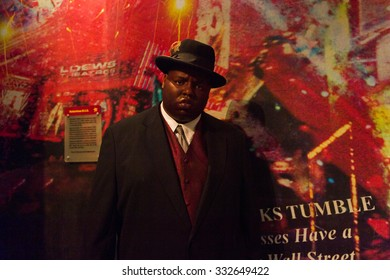 NEW YORK, USA - SEP 22, 2015: Notorious B.I.G. in Madame Tussaud  wax museum, TImes Square, New York City. Marie Tussaud was born as Marie Grosholtz in 1761