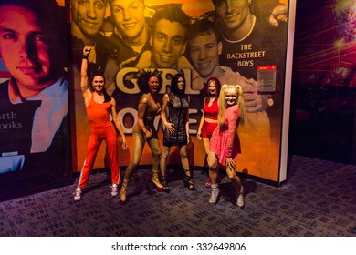 NEW YORK, USA - SEP 22, 2015: Spice girls in Madame Tussaud  wax museum, TImes Square, New York City. Marie Tussaud was born as Marie Grosholtz in 1761