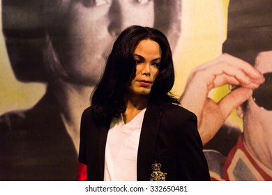 NEW YORK, USA - SEP 22, 2015: Michael Jackson in the Madame Tussaud  wax museum, TImes Square, New York City. Marie Tussaud was born as Marie Grosholtz in 1761