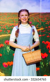NEW YORK, USA - SEP 22, 2015: Dorothy from the Oz in the Madame Tussaud  wax museum, TImes Square, New York City. Marie Tussaud was born as Marie Grosholtz in 1761