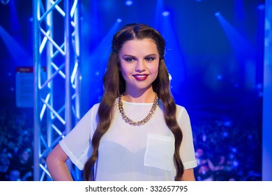 NEW YORK, USA - SEP 22, 2015: Selena Gomez in Madame Tussaud  wax museum, TImes Square, New York City. Marie Tussaud was born as Marie Grosholtz in 1761