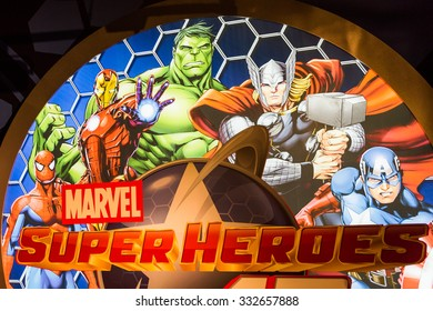 NEW YORK, USA - SEP 22, 2015: Marvel Superheores in Madame Tussaud  wax museum, TImes Square, New York City. Marie Tussaud was born as Marie Grosholtz in 1761