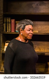 NEW YORK, USA - SEP 22, 2015: Maya Angelou in the Madame Tussaud  wax museum, TImes Square, New York City. Marie Tussaud was born as Marie Grosholtz in 1761