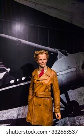 NEW YORK, USA - SEP 22, 2015: Amelia Earhart in the Madame Tussaud  wax museum, TImes Square, New York City. Marie Tussaud was born as Marie Grosholtz in 1761