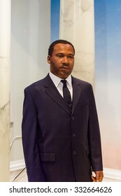 NEW YORK, USA - SEP 22, 2015: Martin Luther king in Madame Tussaud  wax museum, TImes Square, New York City. Marie Tussaud was born as Marie Grosholtz in 1761