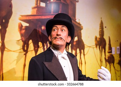 NEW YORK, USA - SEP 22, 2015: Salvador Dali in the Madame Tussaud  wax museum, TImes Square, New York City. Marie Tussaud was born as Marie Grosholtz in 1761