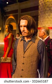 NEW YORK, USA - SEP 22, 2015: Johnny Depp in the Madame Tussaud  wax museum, TImes Square, New York City. Marie Tussaud was born as Marie Grosholtz in 1761