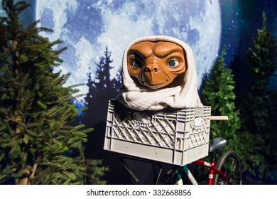 NEW YORK, USA - SEP 22, 2015: E.T. in the Madame Tussaud  wax museum, TImes Square, New York City. Marie Tussaud was born as Marie Grosholtz in 1761