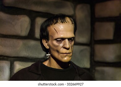 NEW YORK, USA - SEP 22, 2015: Frankenstein in the Madame Tussaud  wax museum, TImes Square, New York City. Marie Tussaud was born as Marie Grosholtz in 1761