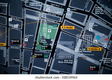 NEW YORK, USA - SEP 22, 2015: Map of the Lower Manhattan (Downtown). Downtown  was originated at the southern tip of Manhattan Island in 1624