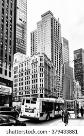 NEW YORK, USA - SEP 22, 2015: Architecture of the Broadway street. It is the oldest northâ??south main thoroughfare in New York City