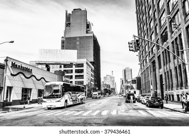 NEW YORK, USA - SEP 22, 2015: Architecture of the Tenth Avenue (Amsterdam Avenue)(Manhattan). Tenth Avenue begins a block below Gansevoort Street